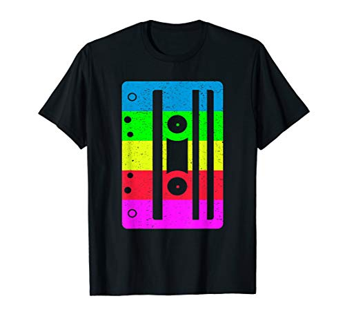 Colorful Cassette Tape Tee for Adults and Kids, 5 Color Choices