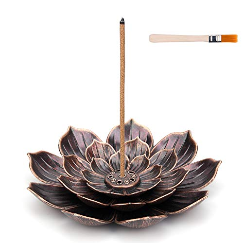 Brass Incense Holder - Lotus Stick Incense Burner with Brush, Holder 5 Incense Holes, for Home...