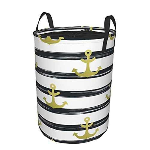 """Cesto de lavandería redondo,Rayas negras horizontales con símbolos náuticos Crucero temático marino Ocean Trip,cesto de lavandería plegable impermeable con cordón,19""""x14"""""""
