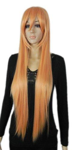 Qiyun Longue Raide Bright Orange Resistant a la Chaleur Fibre Synthetique Cheveux Complete Cosplay Anime Costume Perruque