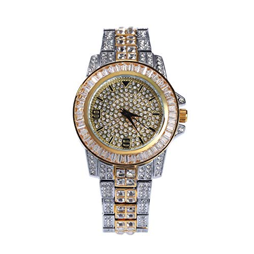 Moca Schmuck Iced Out Fashion Luxusuhr 18 Karat Vergoldet Bling CZ Simulierte Diamant Hip Hop Rapper Uhr für Männer Frauen (double color)