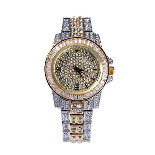 Hip-Hop - Reloj de pulsera para hombre con incrustaciones de circonio, reloj informal con esfera grande, 123, Varios colores., talla