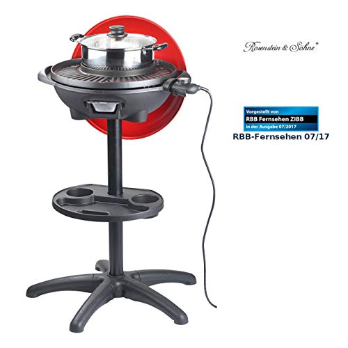 Rosenstein & Söhne Elektrischer Kugelgrill: 5in1-Elektro-Kugelgrill mit Temperaturregler und Zubehör, 1.500 W (Standgrill)