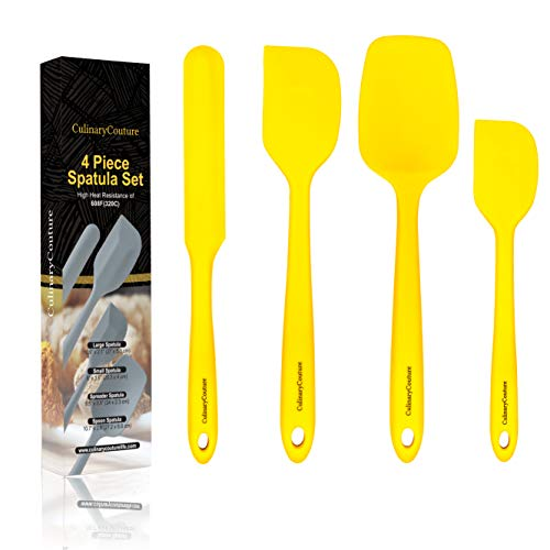 Yellow Silicone Spatula Set – Non Stick High Heat Resistant Kitchen Utensils – 608F – Sturdy Steel Core – Spreader, Scraper, Spoonula Spatulas – 4 Piece Utensil Set - Gift Box and Bonus Recipe Ebook