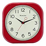 Westclox 32948R 9.5 inch Square Retro Wall Clock - Chrome Trim - Convex Dome Glass Lens - Easy to Read - Battery Operated Clock for Kitchen, Garage or Office (Red)