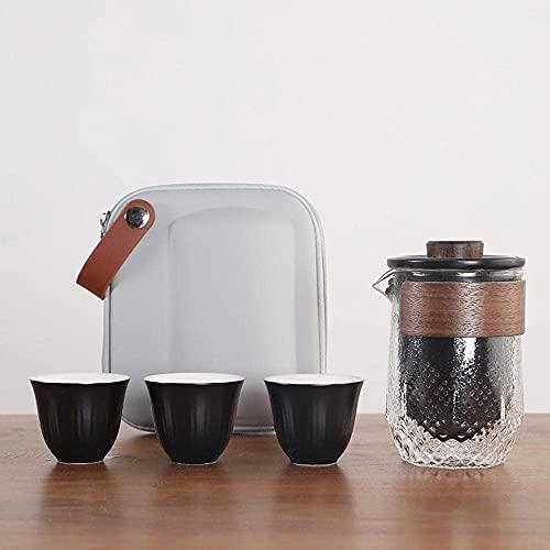 BaiJaC Tetera Estilo japonés, Juego de té de Viaje Cerámica Mini Mano Hecho a Mano Kung Fu Conjunto de té con Bolsa de Almacenamiento Viajes a Domicilio al Aire Libre y Oficina-A (Color : C)