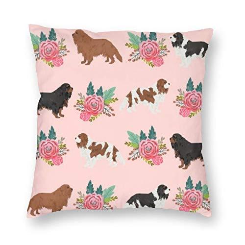Meius Cavalier King Charles Spaniel rosa Blumenmuster Hund Samt weicher dekorativer quadratischer Kissenbezug Kissenbezug für Wohnzimmer Sofa Schlafzimmer mit unsichtbarem Reißverschluss 50,8 x 50,8 cm