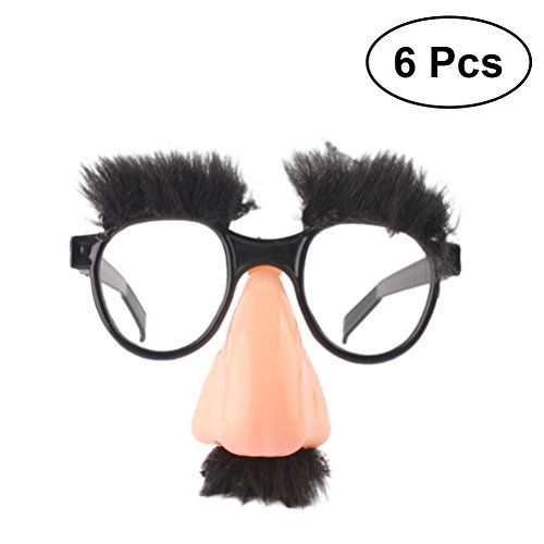 TOYMYTOY Disguise Glasses with Funny Nose - Eyebrows and Mustache,6 Pack