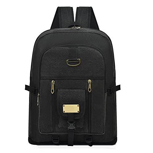 JUNMIN Mochila de Gran Capacidad de Lona, Mochila de Estudiante de Viajes al Aire Libre Masculino, Bolsa de montañismo Multifuncional Bolsa de Lona (Color : Black, Size : 50x14x40cm)