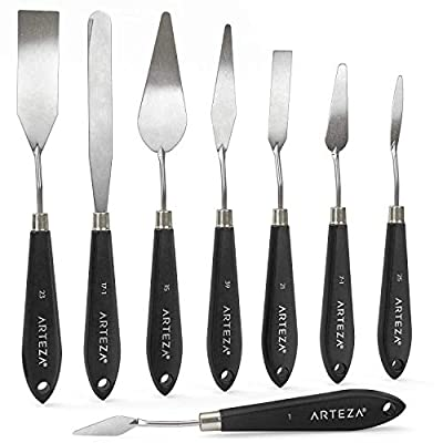 Arteza Palette Knives 8-Pack, Sizes #1, 25, 7, 15, 39, 23, 17, 21, Durable Stainless Steel Blade & Break-Resistant Wooden Handle, Art Supplies for Oil & Acrylic Painting