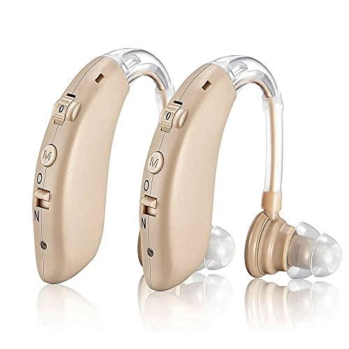 Digitaler Hörverstärker im 2er Set, Digitale Hörhilfe Hörgerät für Senioren Wiederaufladbar mit Noise Cancelling für Hörverlust, BTE Ohrgeräte mit Lautstärkeregelung (Braun)