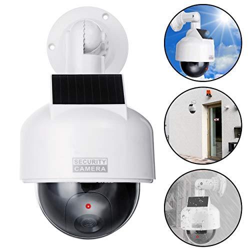Caméra de Surveillance Solaire Professionnelle Speed Dome Dummy Fake factice - Caméra de Surveillance d'extérieur - avec Objectif et lumière LED Rouge - Surveillance des Marchandises