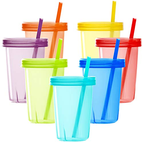 Youngever 7 Sets Plastic Kids Cups with Lids and Straws, 7 Reusable Toddler Cups with Straws in 7 Assorted Colors