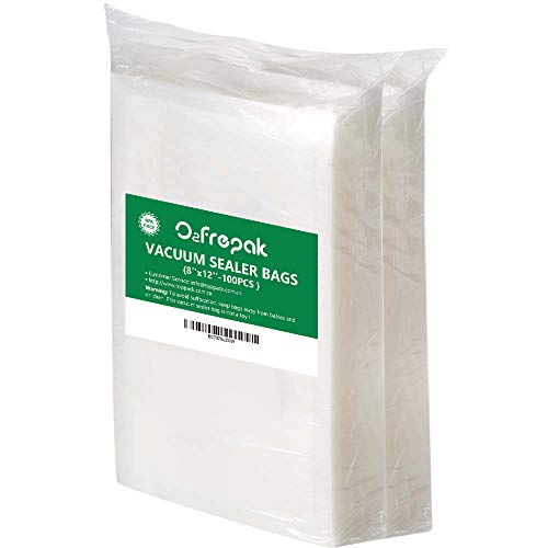 "O2frepak 100 Quart Size 8"" x 12""Vacuum Sealer Bags for Food Saver,BPA Free and Puncture Prevention Vacuum Seal Food Saver Bags,Great for Sous Vide Vaccume Sealer PreCut Bag"