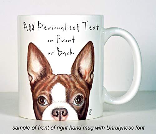 Boston Terrier Mug, Black or Red Boston Terrier Gift, Personalized, add Custom Text