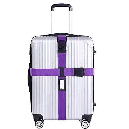 Reemplazo de bloqueo de equipaje correa ajustable Cruz Maleta cinturón práctica DESPLAZAMIENTOS cinturón púrpura, bloqueo de equipaje Correa