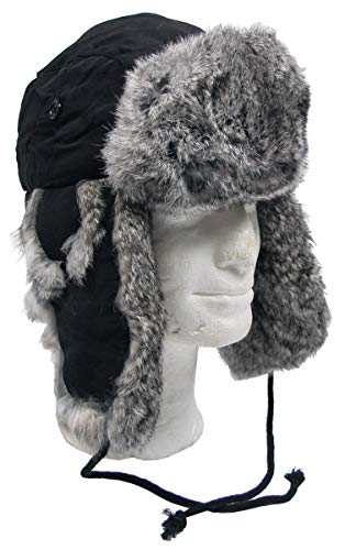 MFH Fellmütze, schwarz, mit grauem,Echtfell, Steppfütterung (L)