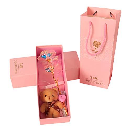 teyiwei Juego de rosa de cristal con luz LED de 24 K, rosa brillante con mini oso y caja de regalo, regalo romántico para el día de San Valentín