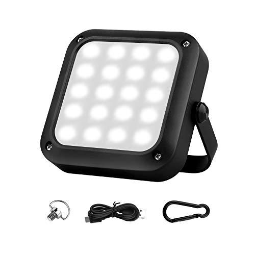 LED Arbeitsleuchte, Campinglampe Led Baustrahler Akku, USB Wiederaufladbare 5200mAh IPX65 wasserdicht, Tragbar Outdoor Flutlicht mit 3 Beleuchtungsmodi 4 Farbmodus für Camping, Angeln, Notfall usw