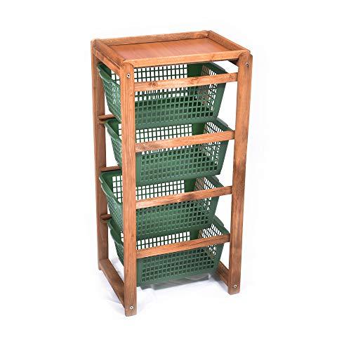 Carrello salvaspazio, cucina, legno naturale scuro, 4 cestelli in polipropilene, portafrutta 38x32x82h