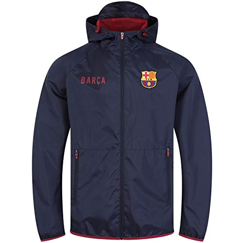 FC Barcelona Official Gift Mens Shower Jacket Windbreaker Peaked Hood Navy Med.