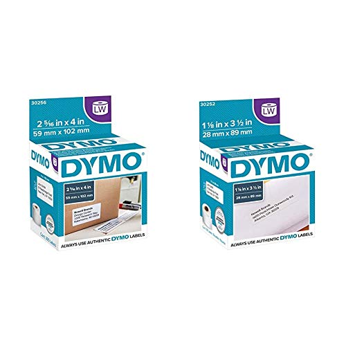 """DYMO Authentic LW Large Shipping Labels (2-5/16"""" x 4), 1 Roll of 300 & Authentic LW Mailing Address Labels 
