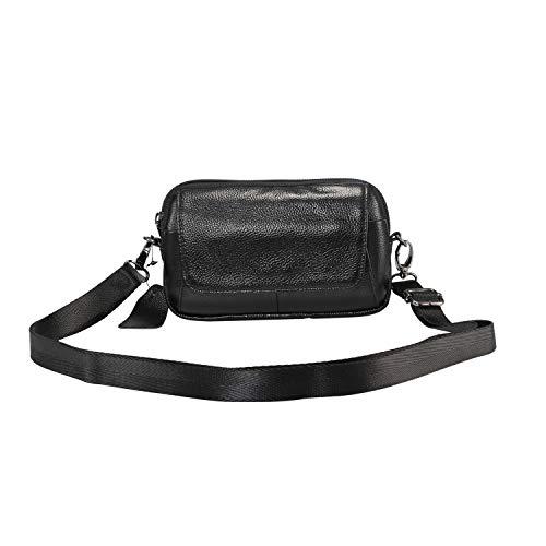 Bolso bandolera de piel auténtica para Samsung Galaxy Note10/S20+/S20 Ultra/Note10+, bolso de hombro para mujeres y hombres, mini funda para cinturón para iPhone11/11 Pro Max/XS Max/XR/8P/7P/6