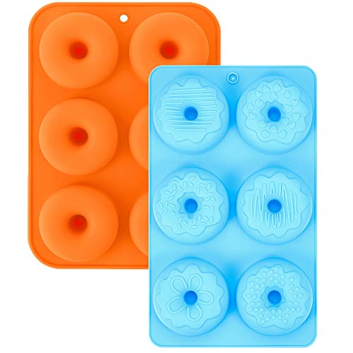 2Pcs Silicone Donut Pans, 3-Inch Silicone Donut Mold, Cake Baking Tray, Non-Stick Mold, Doughnut Pan, Donut Baking Pan for 6 Full-Size Donuts(Orange&Blue)