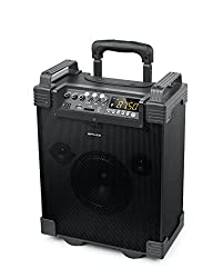 Muse M-1910 Mobile PA System Battery, MP3, USB, SD, 1 Microphone, Bluetooth, 100 Watt, AUX, Guitar Input, Remote Control, Black