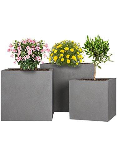 Pflanzwerk Maceta Fibra de Vidrio Cube Gris 3er-Set 23cm + 28cm + 34cm *Resistente a Las heladas* *Protección UV* *Calidad Europeo*