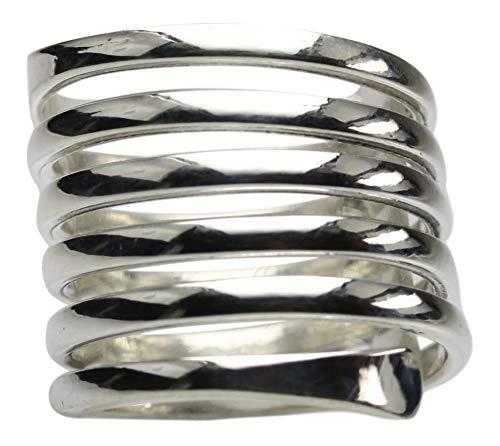 Feiner Spiralring aus 925er Sterlingsilber, Größe:Größe 62 (19.8 mm)