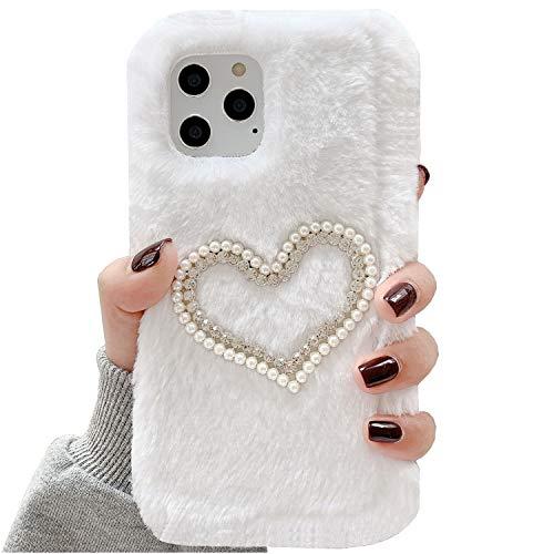 Funda Mi5C, suave, hecha a mano, de lana completa, corazón de perlas suave, sumisa, funda para teléfono Xiaomi Mi 5C, color blanco
