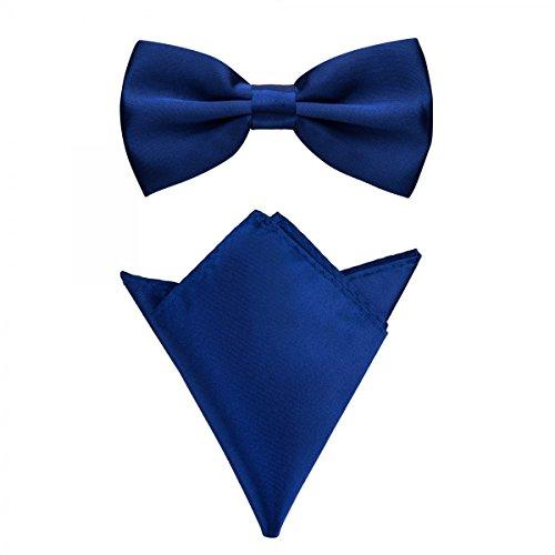 Rusty Bob - Fliege mit Einstecktuch in verschiedenen Farben (bis 48 cm Halsumfang) - zur Konfirmation, zum Anzug, zum Smoking - im 2er-Set - Navy