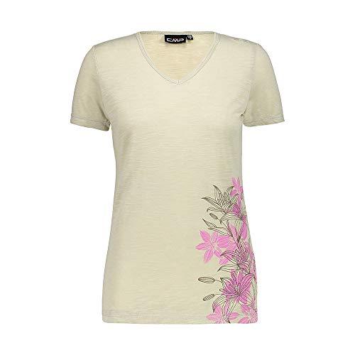 C.P.M. T- Shirt in Lino Con Protezione UPF 40 Femme, Arena, D38