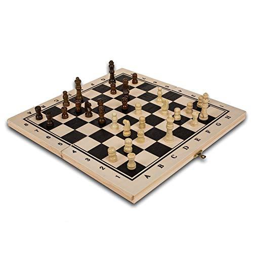 PhiLuMo Holz Schachspiel/Schachkassette - Schachfiguren & Schachbrett - 34 x 34 cm