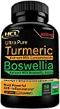 Turmeric Boswellia Extract Supplement 2000 mg – Strong Natural Pain Relief & Joint Support Pills – Extra Strength Anti-Inflammatory Boswellia Serrata with Turmeric Curcumin Powder 90 Capsules