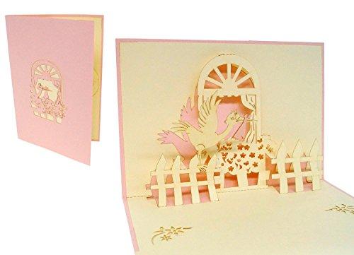 Lin de Pop up 3D Cartes de vœux Cartes de vœux Cigogne Cartes Naissance Fille