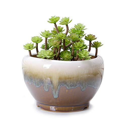 VanEnjoy Large Ceramic Succulent Pot, Multicolor Colorful Flowing Glazed, Indoor Home Décor Cactus Flower Bonsai Pot Planter Container, Candle Holder Ring Bowl (Brown A)