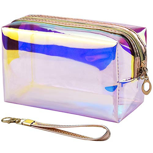 Jinlaili Laser Travel Cosmetic Bag with Zipper, Waterproof Clear Toiletry Bag Makeup Bag Clear Wash Bag, Travel Bag Organiser, Portable Make up Bag Makeup Pouch, Toiletry Organiser for Women Girls