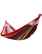 Decdeal Portable Indoor/Outdoor Hanging Garden Canvas Hammock Canvas Bed Camping Hanging Porch Backyard Swing Chair Travel