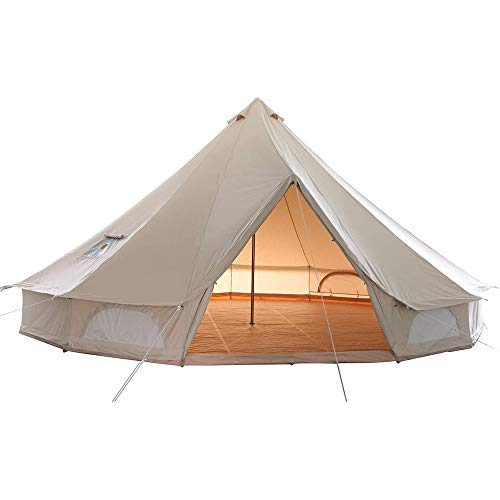 W.KING Canvas Bell Tent 100% Cotton, Waterproof Large Tents with Sturdy Center & Door Pole and Space for 10 Person 4 Season Camping Yurt Style Tent