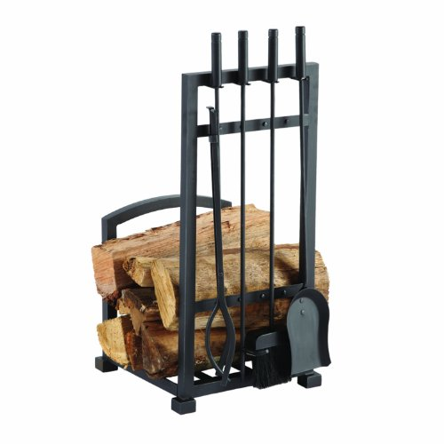 Pleasant Hearth 4 Piece Harper Fireplace Toolset with Log holder