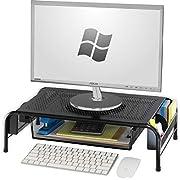 SimpleHouseware Metal Desk Monitor Stand Riser with Organizer Drawer, Black