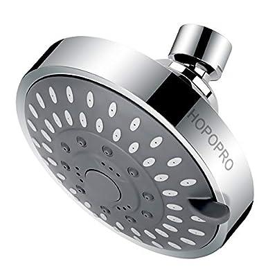 High Pressure Showerhead HOPOPRO Upgraded Fixed Shower Head 5 Spray Settings Multi-Functional Bathroom Showerhead 4 Inch High Flow Shower Head