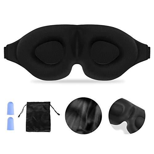 Schlafmaske Damen Herren, 3D konturierte Körbchen-Schlafmaske Atmungsaktive Memory-Schaumstoff-Schlafbrille Verstellbare Augenmaske für Reisen, Mittagsschlaf, Yoga mit Ohrstöpseln Aufbewahrungsbeutel