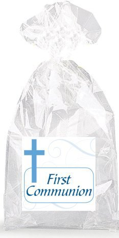 Boys Blue Cross First Communion Party Favor Bags with Ties - 12pack