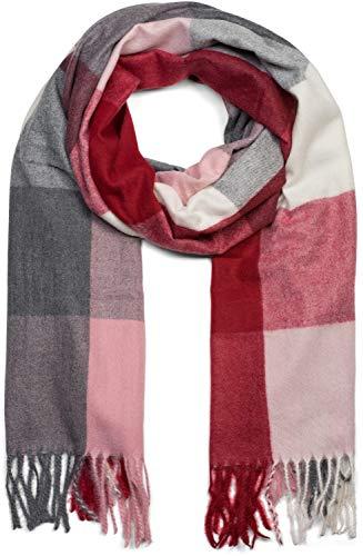 styleBREAKER Unisex weicher Karo Schal mit langen Fransen, kariert, Winter, Stola 01017110, Farbe:Bordeaux-Rosa-Grau