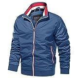 TACVASEN Men's Baseball Jacket Outdoor Recreation Windbreaker Winter Zip Pockets Coat Lightweight Blue S