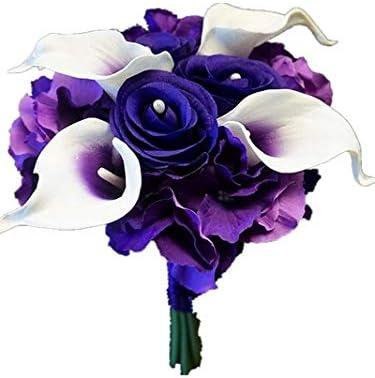 Wedding Silk Real Touch Bouquet Ivory Calla lilies and Silk Ivory Hydrangeas Bridesmaids Wedding Bouquet