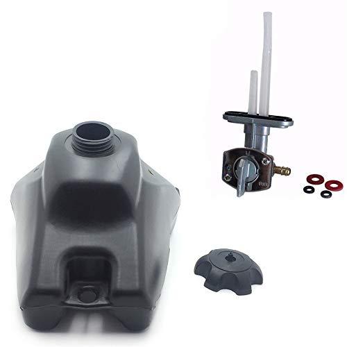 HTTMT - USXH6011-TANK+INTERRUPTOR- Tanque de combustible de gas de 3,5 L con tapa + llave de gasolina de válvula de interruptor compatible con Honda CRF50 CRF 50 Pit Bike